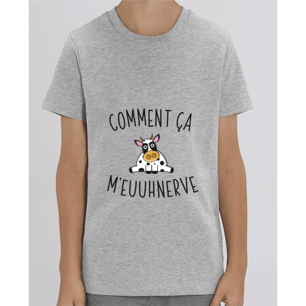 T-shirt Fille - Comment ça meuuhnerve - Heather Grey / 3/4 ans - Enfant & Bébé>T-shirts