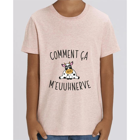 T-shirt Fille - Comment ça meuuhnerve - Cream Heather Pink / 3/4 ans - Enfant & Bébé>T-shirts