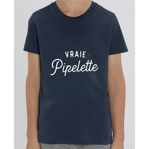T-shirt Fille - Vraie pipelette - French Navy / 3/4 ans - Enfant & Bébé>T-shirts