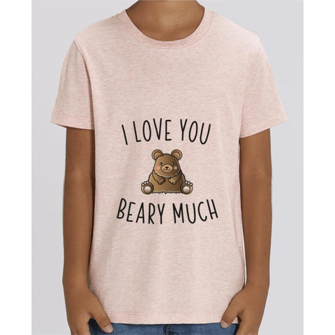 T-shirt Fille - I love you beary much - Cream Heather Pink / 3/4 ans - Enfant & Bébé>T-shirts
