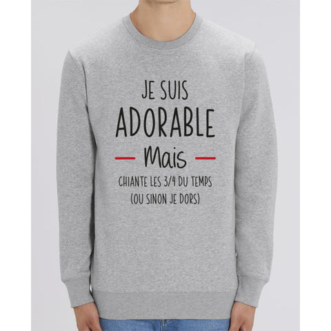 Sweat Unisexe - Je suis adorable mais chiante - Heather Grey / XXS - Unisexe>Sweatshirts