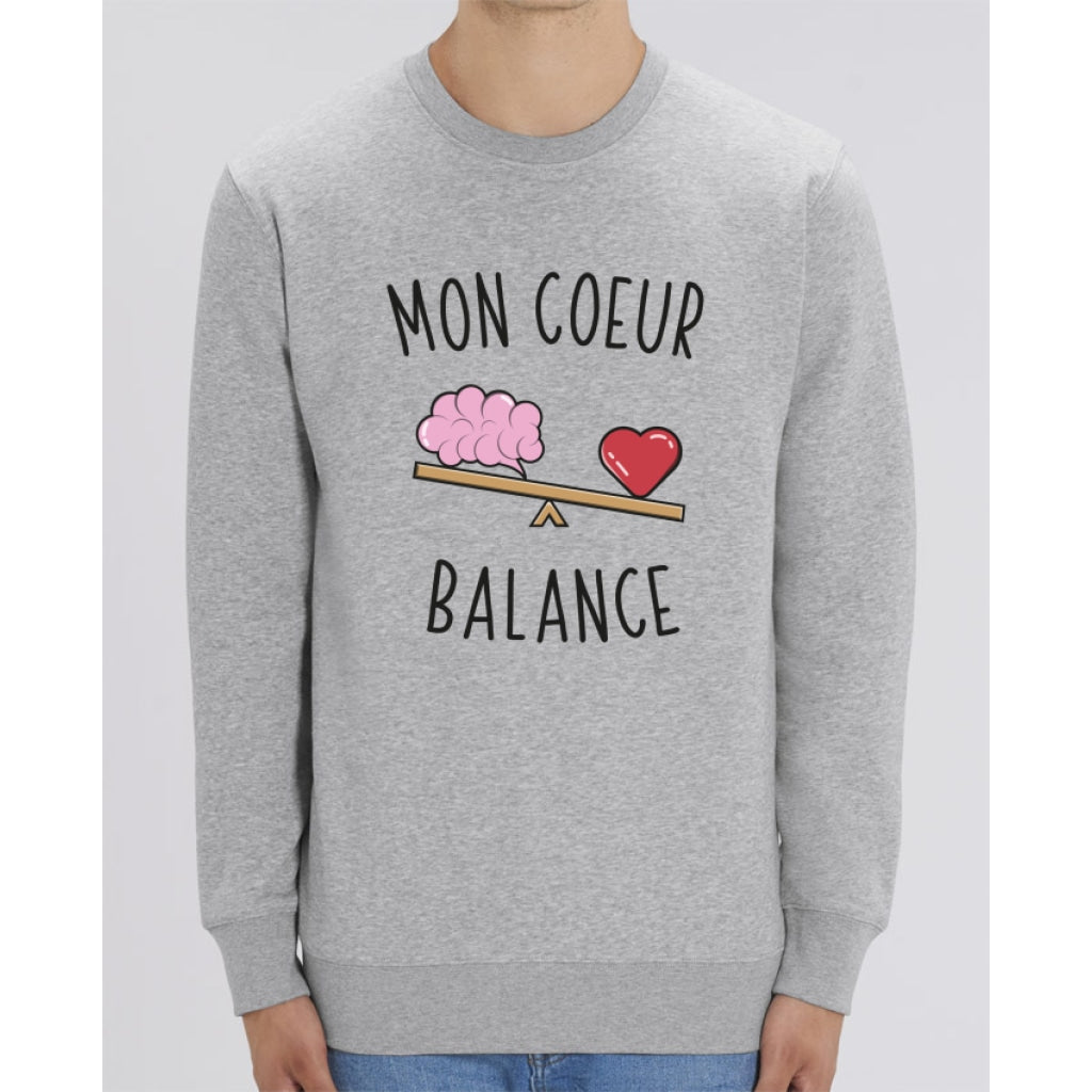 Sweat Unisexe - Mon cur balance - Heather Grey / XXS - Unisexe>Sweatshirts