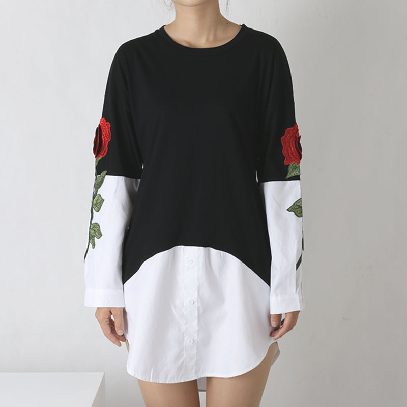 Rose Embroidery Two Pieces Blouse