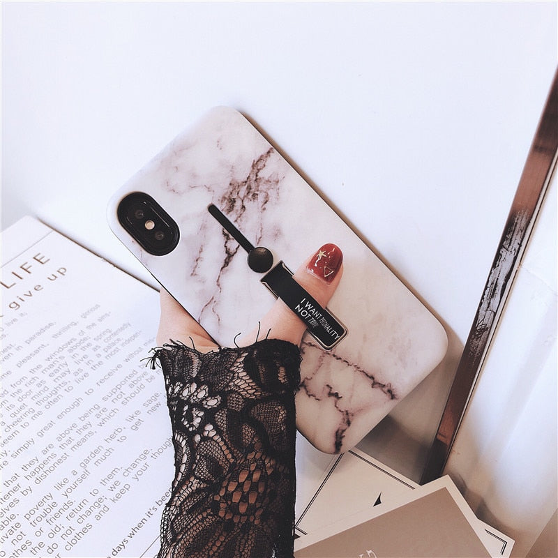 Luxury Marble iPhone Case with Ring & Stand Holder