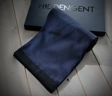 Navy Checked Scarf