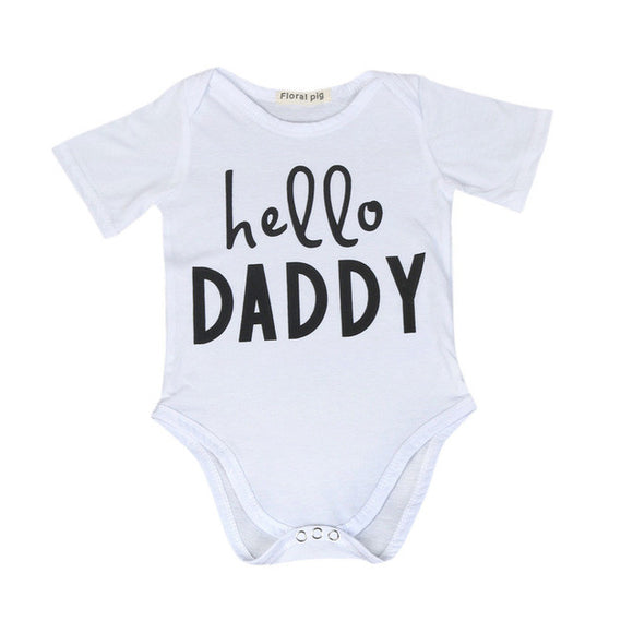 'Hello Daddy' Baby Onesie. Available in White or Black