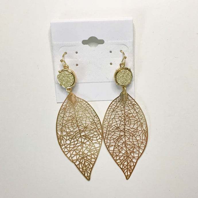 Druzy Leaf Earrings