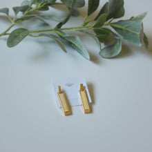 Gold Bar Earrings in Ivory