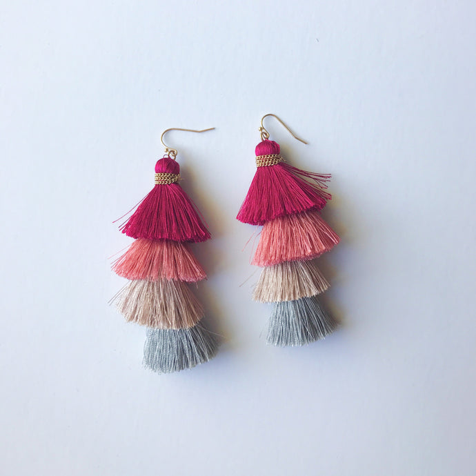 Pink Tier Tassel Earrings