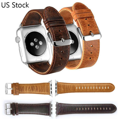 Brown & Coffee Genuine Leather Watch Band For Apple Watch Series 1 2 3 (42mm 38mm) - It's From The Shop