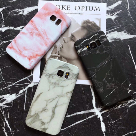 Glossy Marble Pattern Case For Samsung Galaxy Smartphones - It's From The Shop