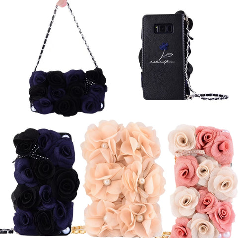 Rose Flower Leather Wallet Flip Case With Strap for Samsung Galaxy Smartphones - It's From The Shop