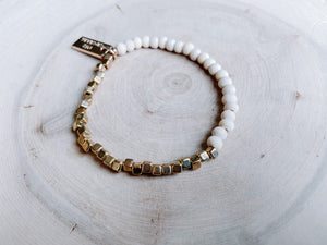 012-4107 Ivory Wood and Gold Half and Half Bracelet