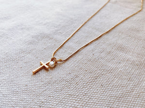 Emily Ryanne Hepburn Pearl Pendant Necklace with Cross Charm