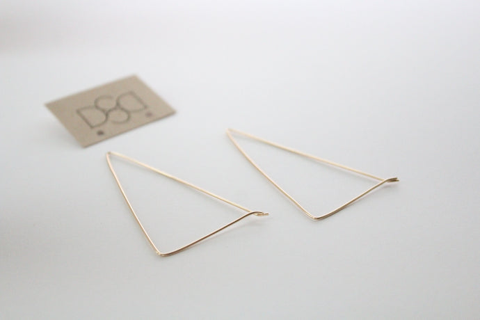 12K Gold Elongated Triangle Minimal Earrings