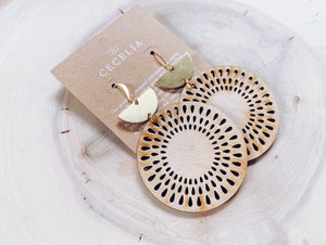 Cecelia Sunflower Tiered Wood Earrings