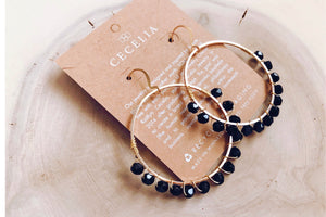 Jessica Jo Wire Wrapped Hoop Earrings in Black FP