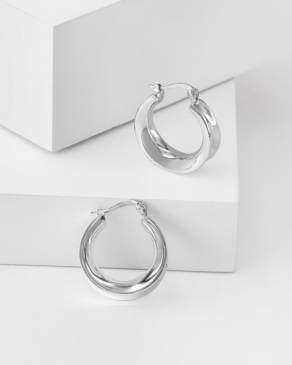 Kimberly Hoop Silver Earrings, Sterling Silver
