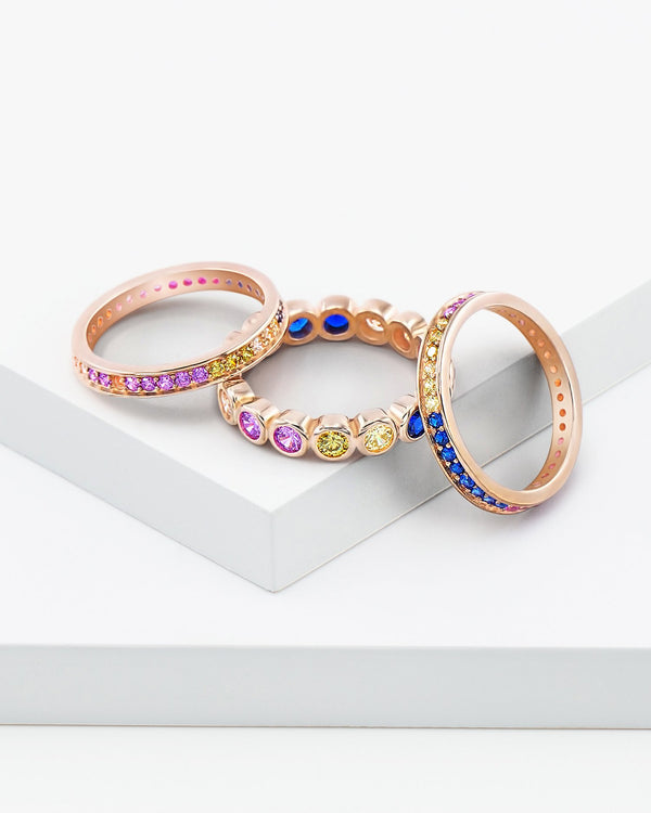April Rainbow Stackable Ring Set