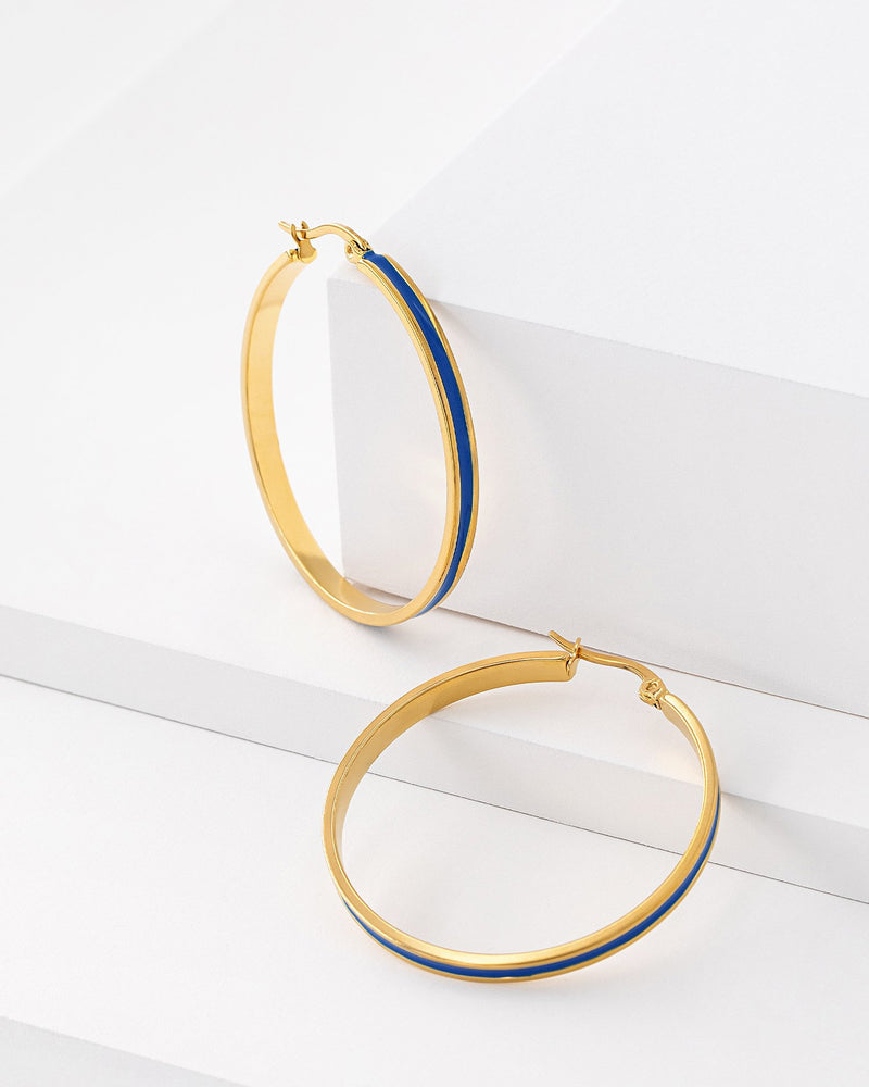 Lila Enamel Hoop Earrings