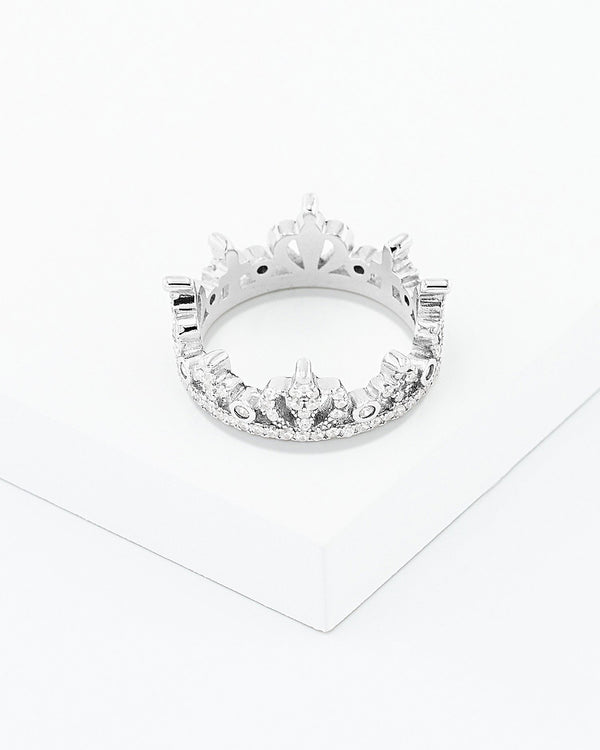 Etta Crown Ring, Sterling Silver, CZ Stone