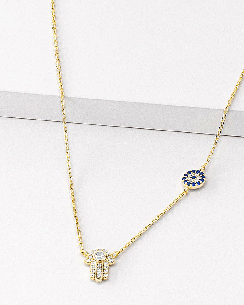 Kylie Hamsa Evil Eye Necklace, Sterling Silver, CZ Stone