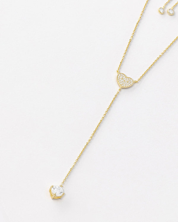 Faith Drop Necklace, Sterling Silver, CZ Stone