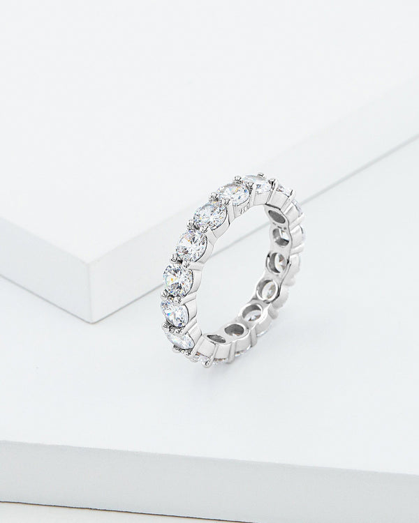 Zara Band Ring, Sterling Silver, CZ Stone