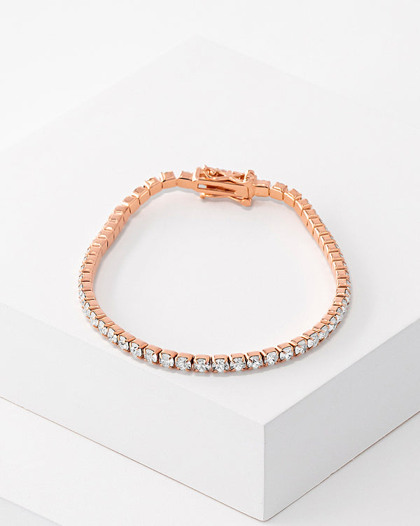 Tennis Bracelet Rose Gold, Sterling Silver, CZ Stone