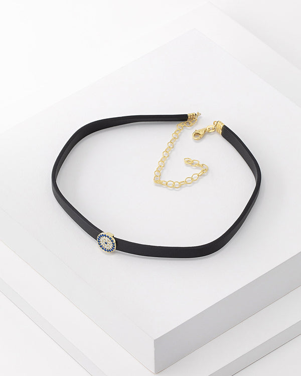 Elle Starbust Leather Choker, Genuine Leather, Sterling Silver, CZ Stone