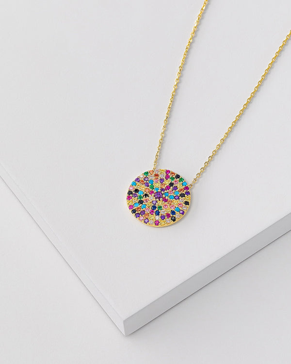 Sara Rainbow Coin Necklace, Sterling Silver, CZ Stone