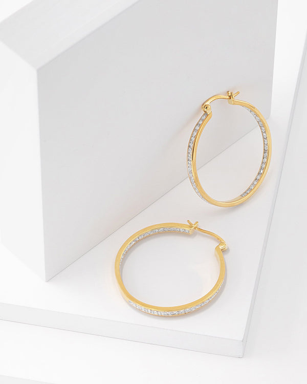Diana Frosted Hoop Earrings, Gold, Silver Textured Sparkle