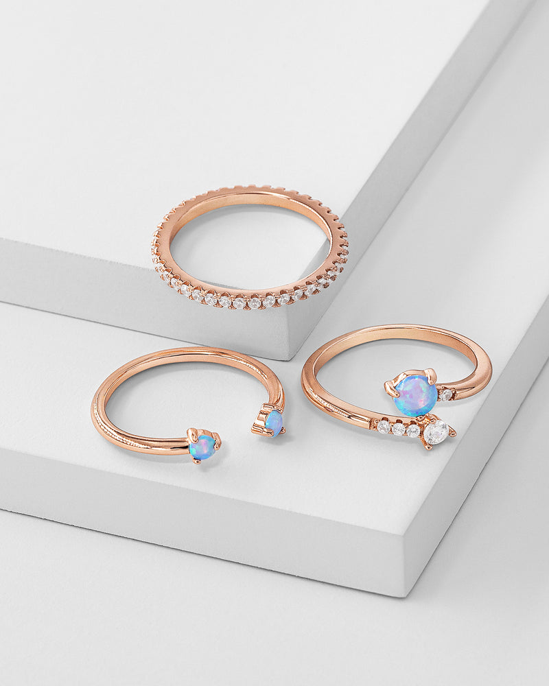 Evelyn Stackable Ring Set, Sterling Silver, CZ Stone, Opal