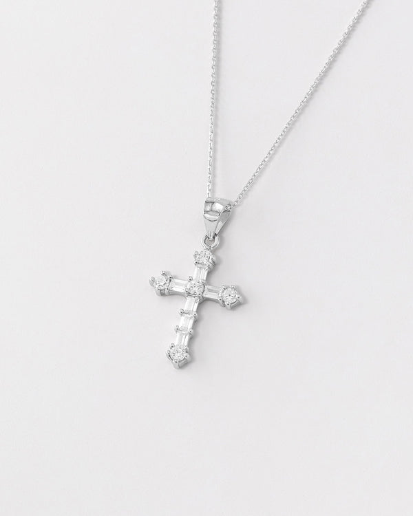 Arielle Cross Necklace, Sterling Silver, CZ Stone