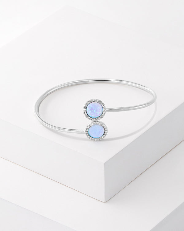 Ida Bangle, Sterling Silver, CZ Stone, Opal