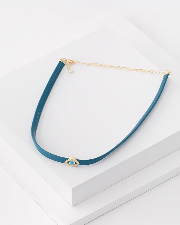 Emelda Evil Eye Leather Choker, Genuine Leather, Sterling Silver, CZ Stone, Opal