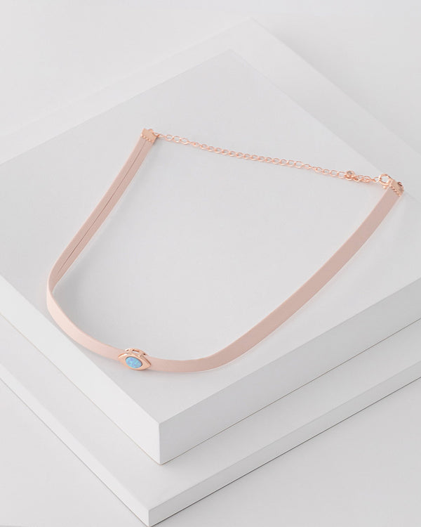 Callie Evil Eye Leather Choker, Genuine Leather, Sterling Silver, CZ Stone, Opal