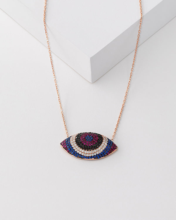 Sia Rainbow Evil Eye Necklace, Sterling Silver, CZ Stone