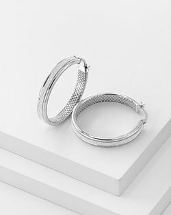 Vivian Textured Hoop Earrings, Sterling Silver