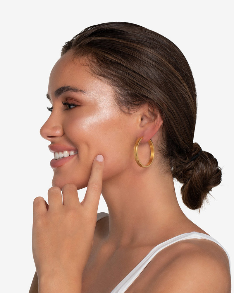 Nicole Brushed Hoop Earrings