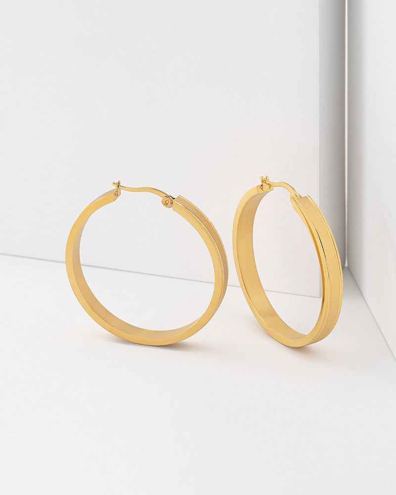 Nicole Brushed Hoop Earrings, Stainless Steel