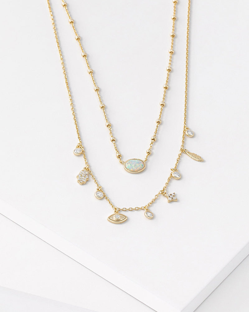 Emma Layered Charm Necklace
