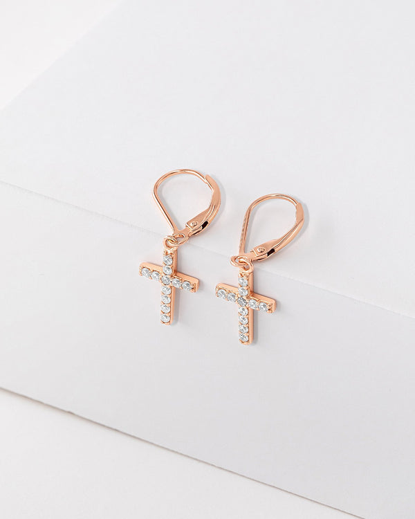 Gianna Cross Huggie Earrings, Sterling Silver, CZ Stone