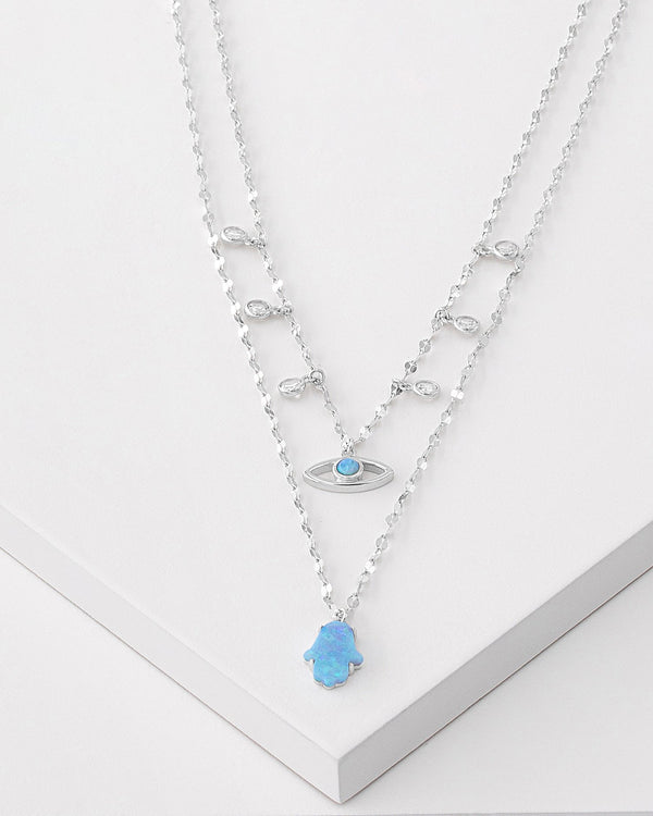 Zoe Layered Charm Necklace, Sterling Silver, CZ Stone, Opal