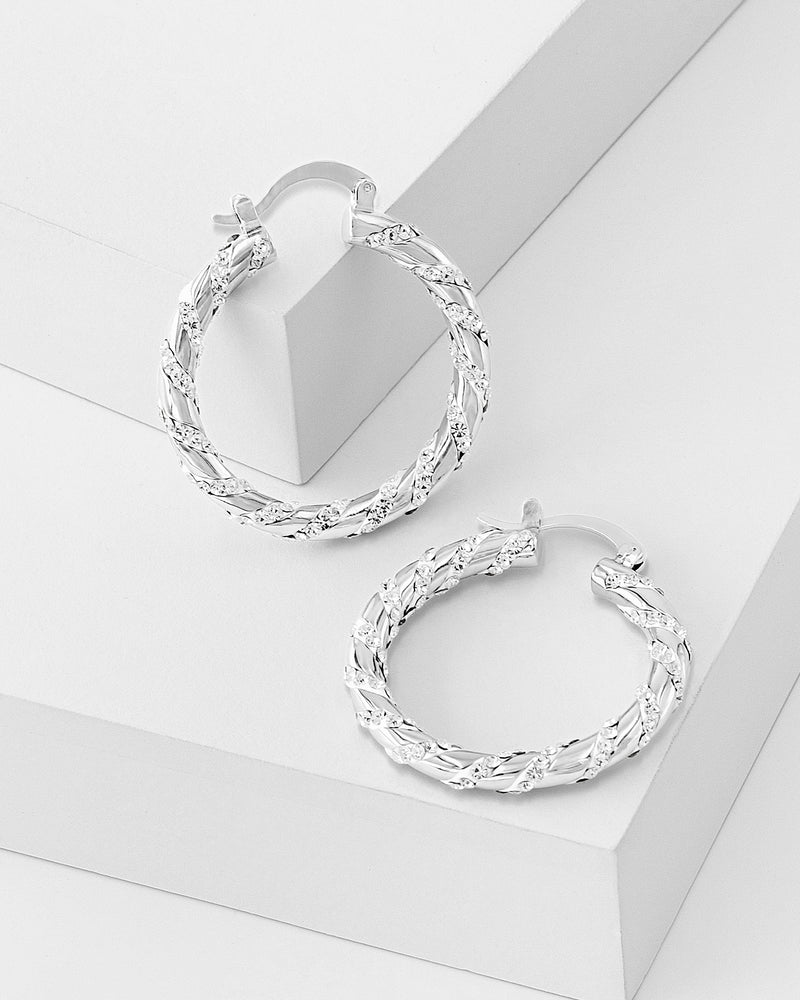 Maria Twisted Hoop Earrings, Crystal