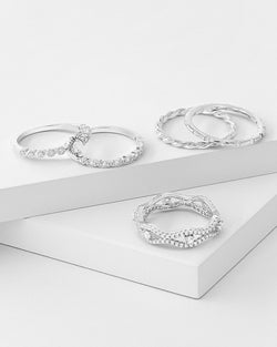 Natalia Stackable Ring Set Silver, Sterling Silver, CZ Stone