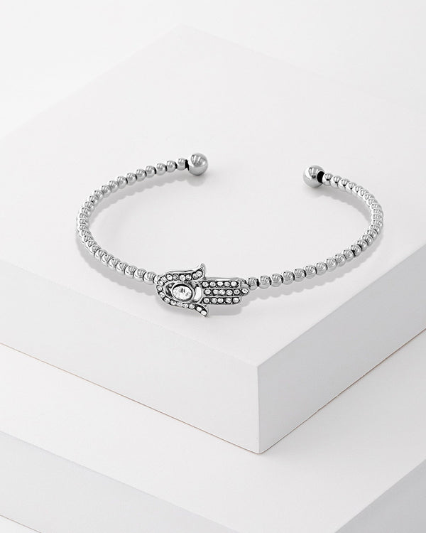 Freya Hamsa Beaded Bangle Silver, Stainless Steel, CZ Stone, Bead