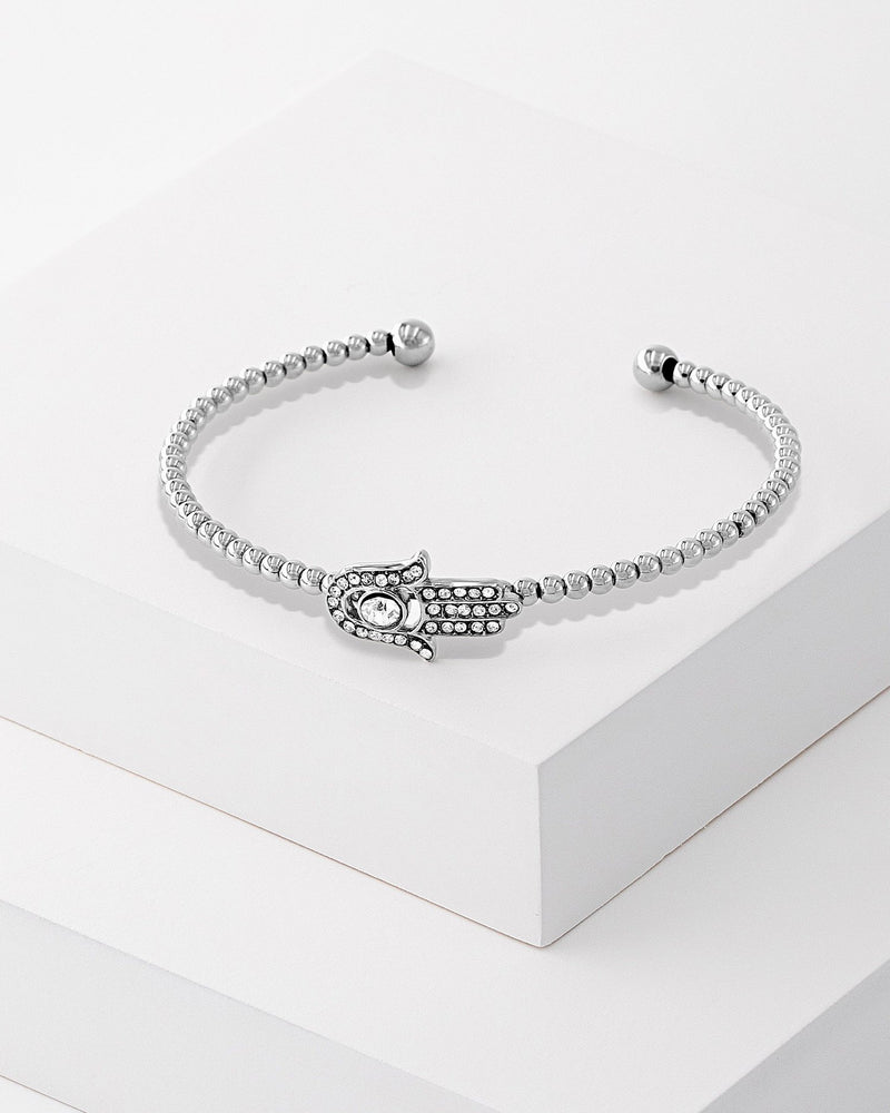 Freya Hamsa Beaded Bangle Silver
