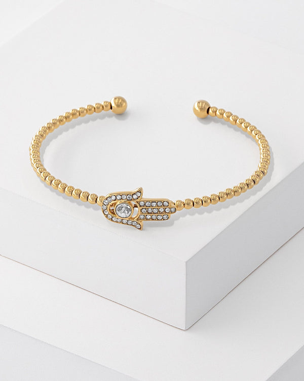 Freya Hamsa Beaded Bangle Gold