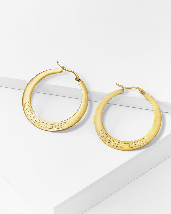 Athena Hoop Earrings, Stainless Steel